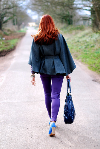Charcoal cape and purple skinnies
