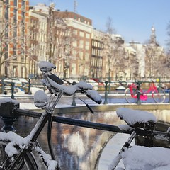 Intense sunshine melts snow in the centre of Amsterdam