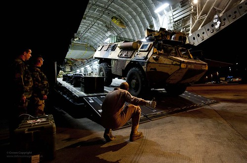 Armoured vehicle being unloaded from an aircraft. Photo: UK Ministry of Defence/Flickr.