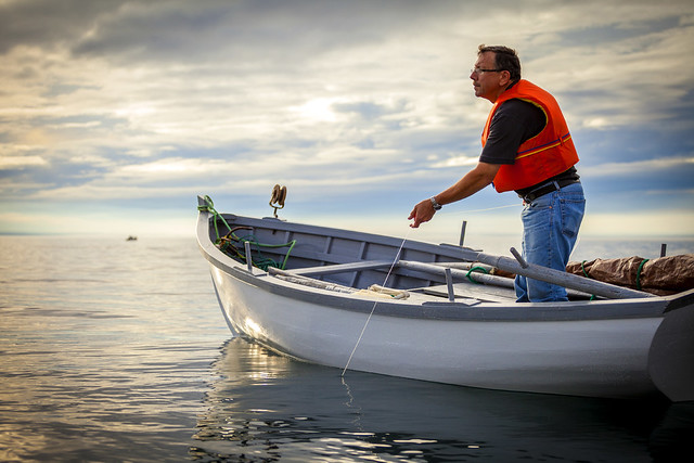 Cod Fishing From A Traditional Wooden Boat