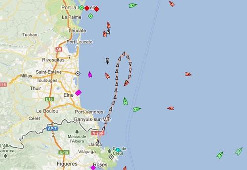 carte maritime vers 14h30