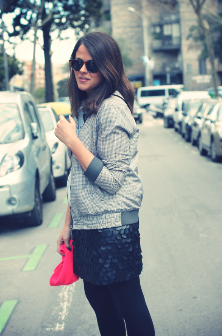 Look bomber jacket + leather skirt - Monicositas