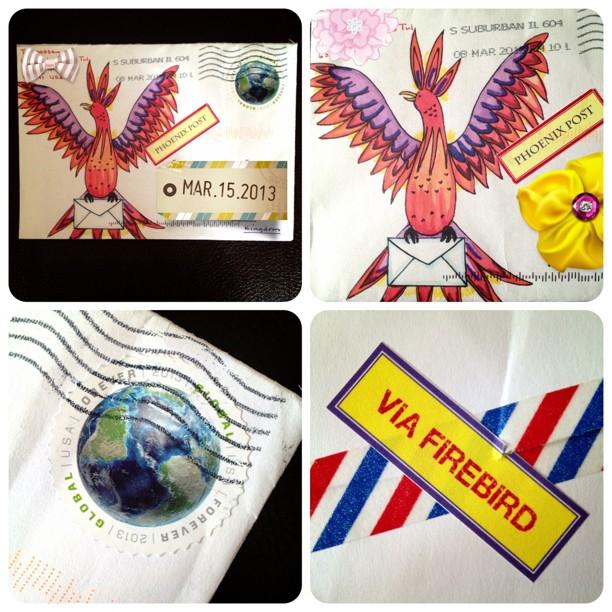 1/3 of my #elevatedenvelope #phoenix #watercolour #envelope #snailmail #exchange #fun #washitape #postagestamp #usa