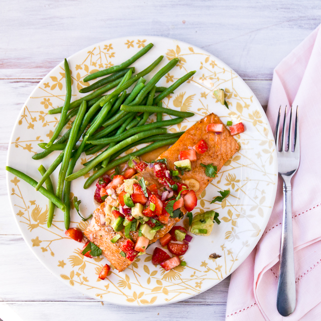 Salmon with Strawberry-Avocado Salsa