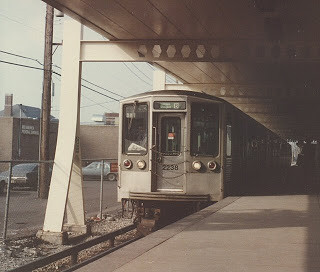 Eastbound Chicago Transit Authority Douglas Park rapid transit train departing the Cicero Avenue station.  Cicero Illinois.  February 1985. by Eddie from Chicago