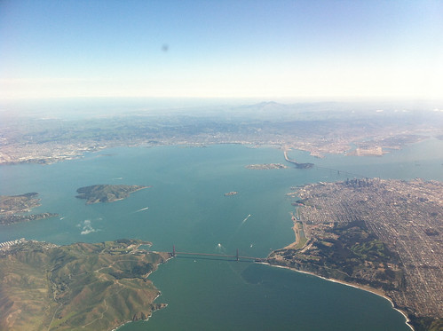 Golden Gate Bridge and San Francisco during the descent to SFO
