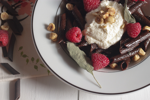 Chocolate Pasta with Sage Browned Butter Sauce and Whipped Ricotta