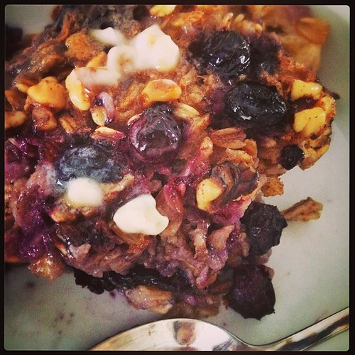 Baked blueberry banana walnut oatmeal brunch on this snowy Saturday. #supernaturaleveryday