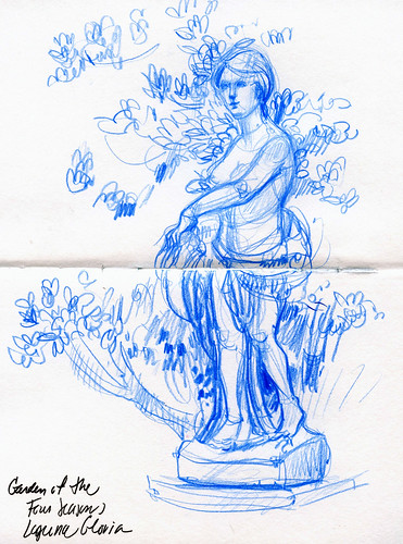 Austin sketches: Garden figure at Laguna Gloria