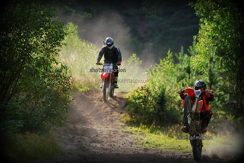 Twee motorrijders spelen met hun motor in het bos / Two motorcyclists playing with their bikes in the forest