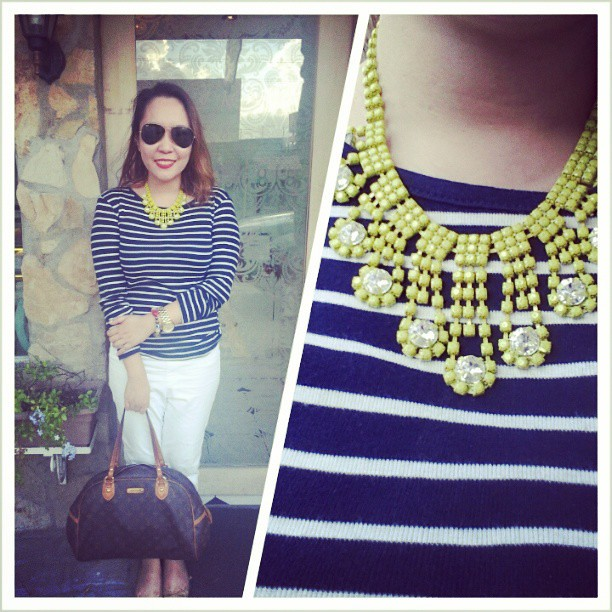 Nothing could be more classic than a striped shirt, white capri pants, ballet flats, Ray-Bans, a gold watch, and Louis Vuitton. But it's me so there's got to be something, like this necklace, to give it a twist. #OOTD #outfits #classicwithatwist #Sundays