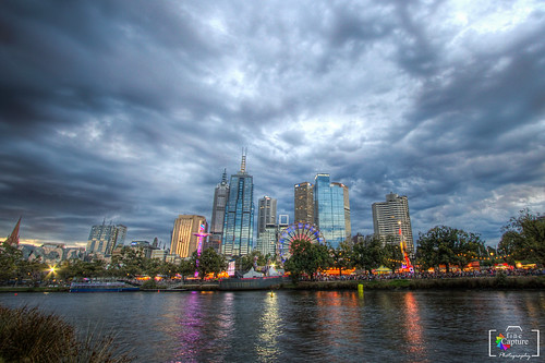 city skyline night clouds buildings river australia melbourne hd hdr mohammedpix