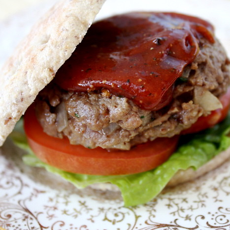 Moroccan Style Burgers w/ Spiced Ketchup