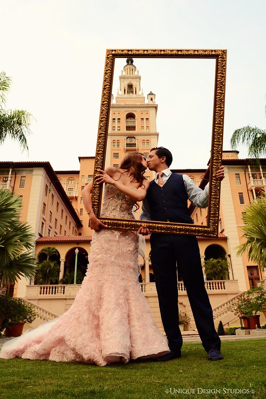pink Pnina Tornai wedding gown, blush bridal gown, wedding at The Biltmore Miami