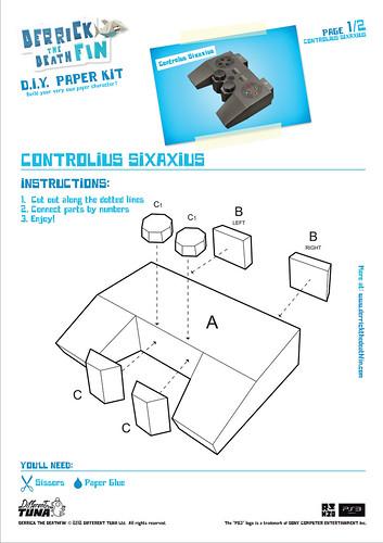 Derrick the Deathfin DualShock 3 Papercraft: Page 1
