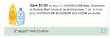 $1.00/1 Johnsons Baby Shampoo Or Bubble Bath Product Excluding Sizes 1 Oz. To 4 Oz. And Johnsons Buddies And Kids Products Coupon