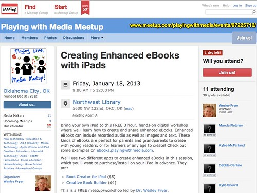 Creating Enhanced eBooks with iPads - Playing with Media Meetup (Oklahoma City, OK) - Meetup