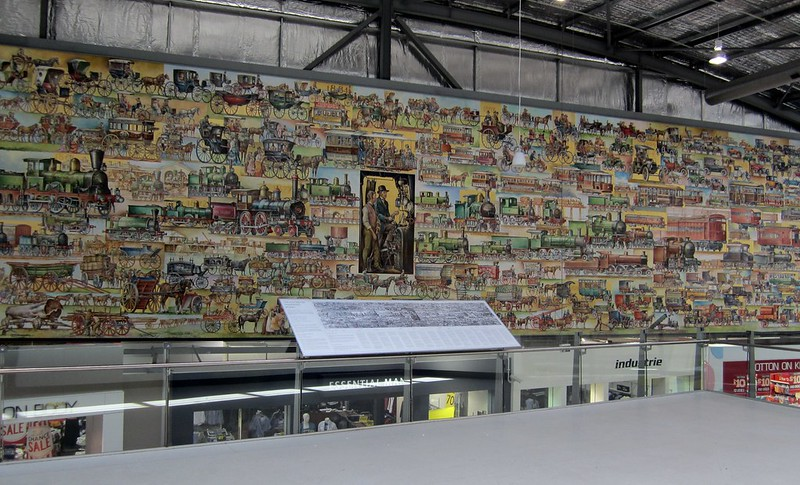 """Transport mural in """"Spencer Street"""" shopping centre at Southern Cross Station"""