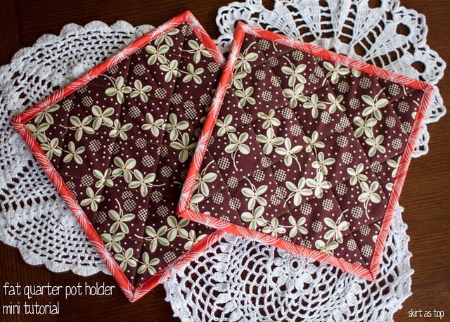 fat quarter pot holder mini tutorial
