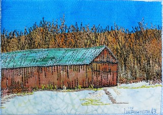 tobacco barn, snow