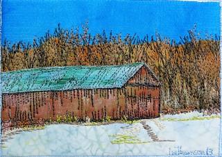 tobacco barn, snow