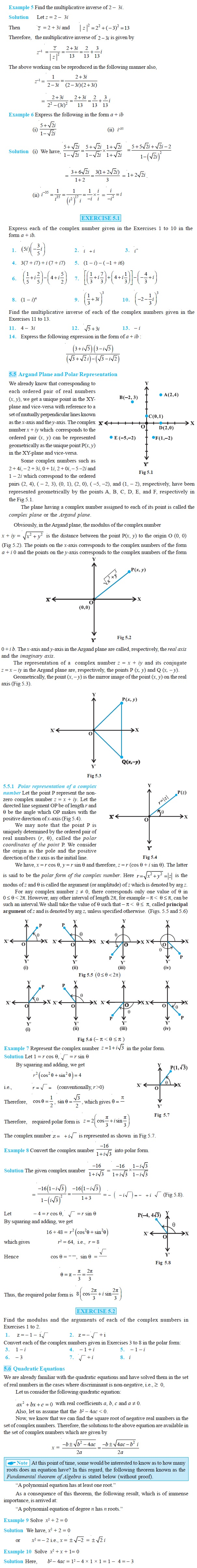 NCERT Class XI Mathematics Chapter 5 – Complex Numbers and Quadratic Equations