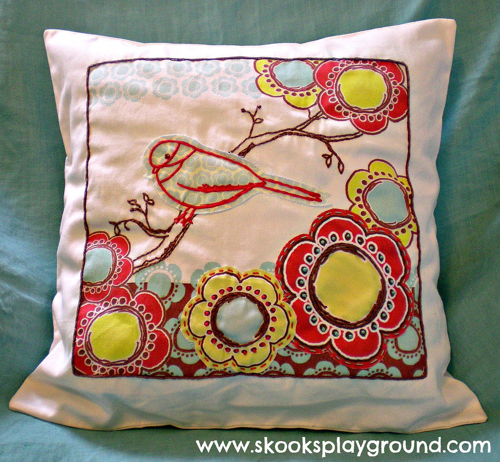 Bird and Flowers Pillow