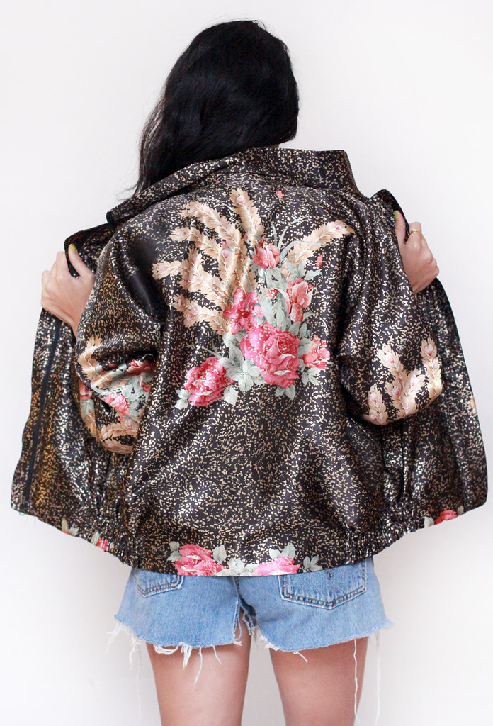 Gold metallic floral bomber jacket by Tarte Vintage at shoptarte.com