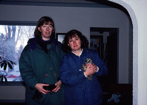 Billie Anderson and me with Boreal Owl