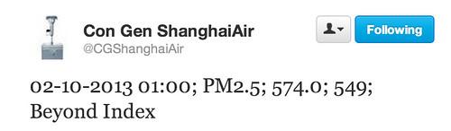 Shanghai PM2.5 level 'Beyond Index'