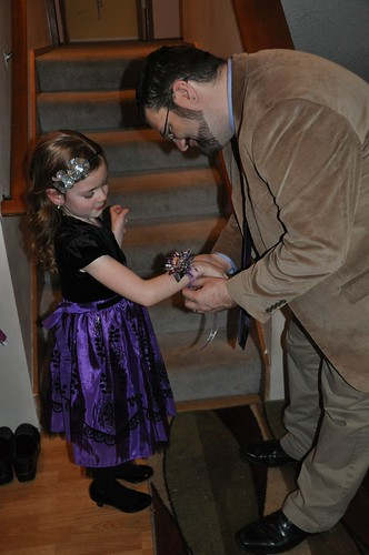 Putting on the corsage