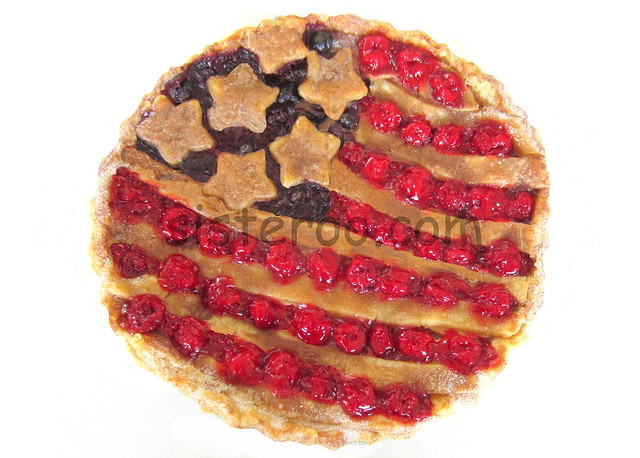 Patriotic Apple Blueberry Cherry Flag Pie