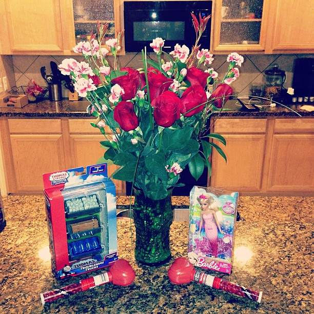 I love that Michael always get Valentines for our babies! Thanks for the roses, they're beautiful!!