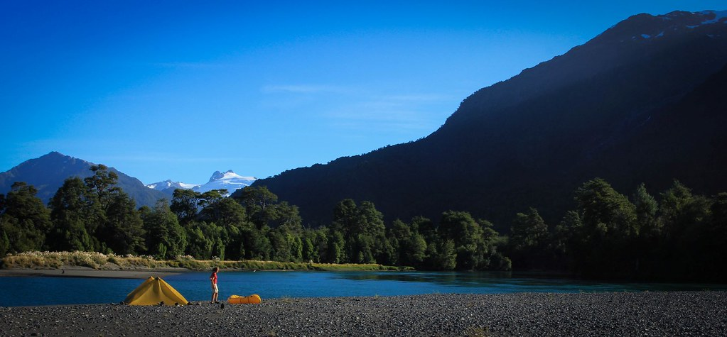 Bivaouc on an gravel bar on an island in the Rio Yelcho. Chilean Patagonia.