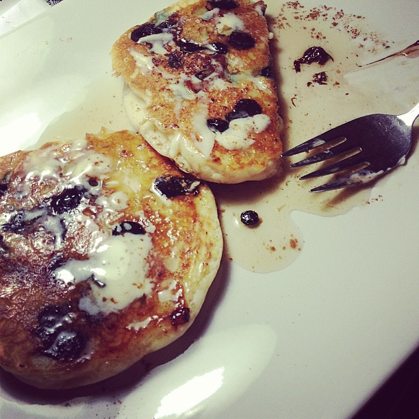 Breakfast: Gluten-free blueberry and choc chip pancakes for my bellyaching daughter. #vegan
