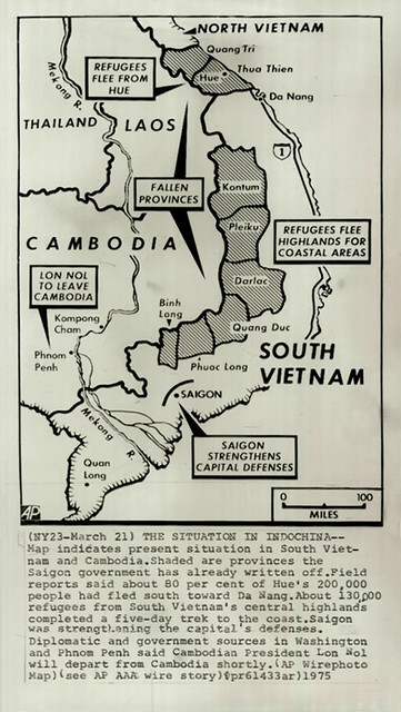 21 March 1975 - Map indicates situation in South Vietnam and Cambodia - Press Photo