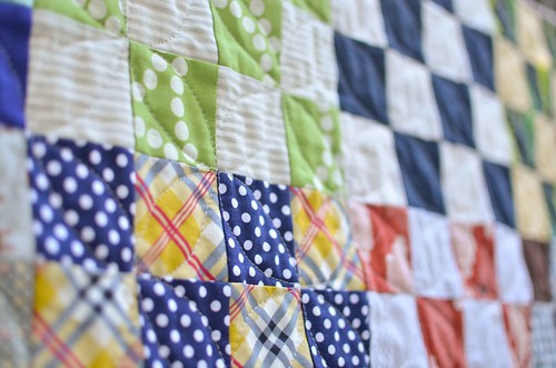 16 patch baby quilt closeup