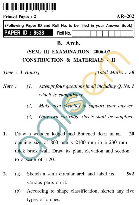 UPTU: B.Arch Question Papers-AR-202-Construction ...