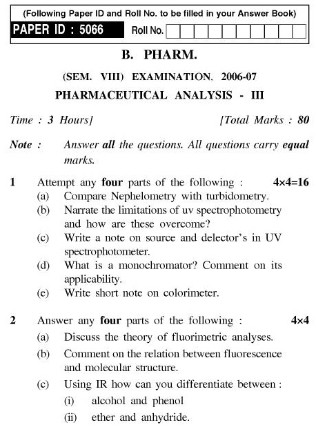 UPTU B.Pharm Question Papers PH-485 - Pharmaceutical Analysis-III