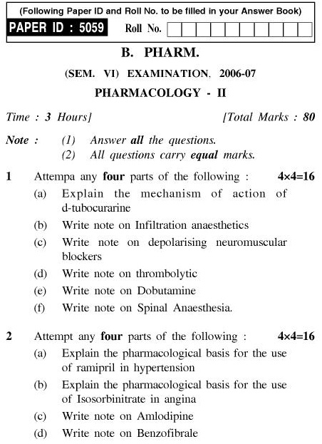 UPTU B.Pharm Question Papers PH-363 - Pharmacology-II