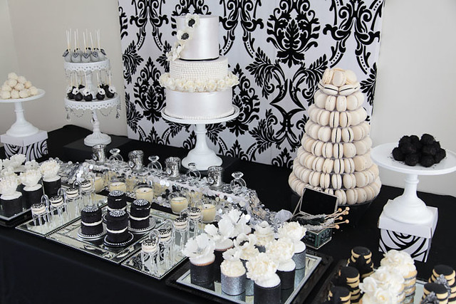 Glamorous Black And Silver And White Dessert Table By Divi