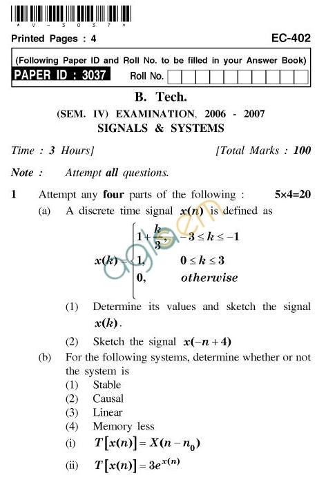 UPTU B.Tech Question Papers - EC-402-Signals & Systems