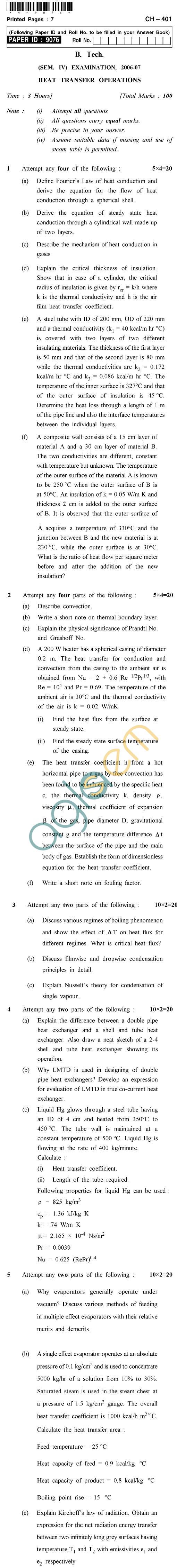 UPTU B.Tech Question Papers - CH-401 - Heat Transfer Operations