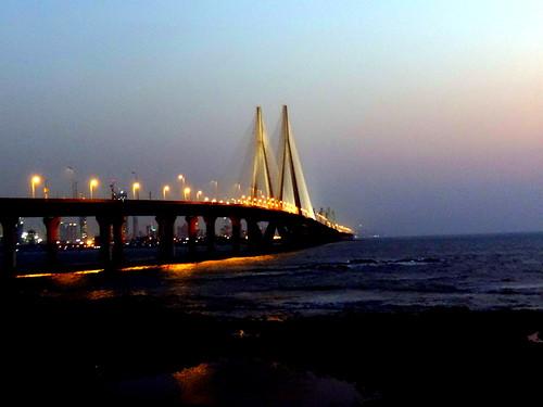 bridge sunset sea sky india mumbai