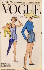 1950s Vogue 9184 UNCUT Swimsuit and bolero, UNCUT,