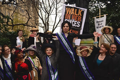 Maria Miller with Olympic suffragettes marking International Women's Day 2013
