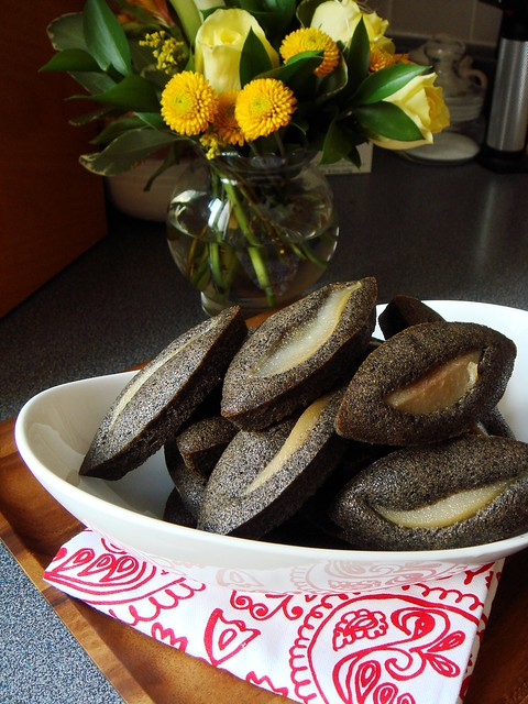 Black Sesame Financier with Poached Pear