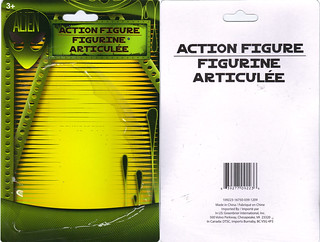 "DOLLAR TREE :: ""ALIEN"" ACTION FIGURE; Green & Tan vi // ..card backer (( 2012 ))"