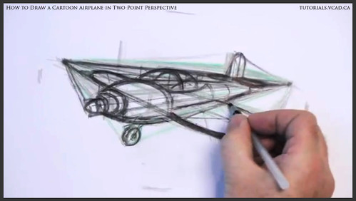 learn how to draw a cartoon airplane in two point perspective 028