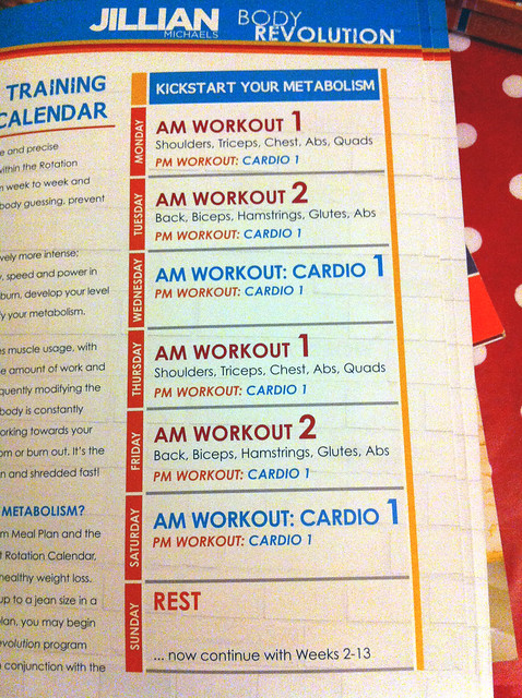 Kickstart workoutsJillian Michaels Body Revolution Workout Schedule Printable